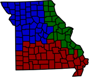 Missouri Court of Appeals -  The Eastern District, in green, is based in St. Louis. The Western District, in blue, is based in Kansas City. The Southern District, in red, is based in Springfield.