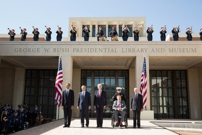 President Barack Obama pauses with former Presidents George W. Bush, Bill Clinton, George H.W. Bush, and Jimmy Carter during the dedication of the George W. Bush Presidential Center at the George W. Bush Presidential Library and Museum on the campus of Southern Methodist University in Dallas, Texas, April 25, 2013. (Official White House Photo by Pete Souza)
