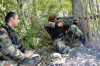 Georgian–Ossetian conflict - A Georgian sniper takes aim at Ossetian rebels.