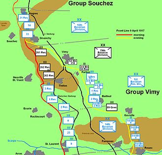 Battle of Vimy Ridge - German dispositions at Vimy Ridge on the first day of the battle