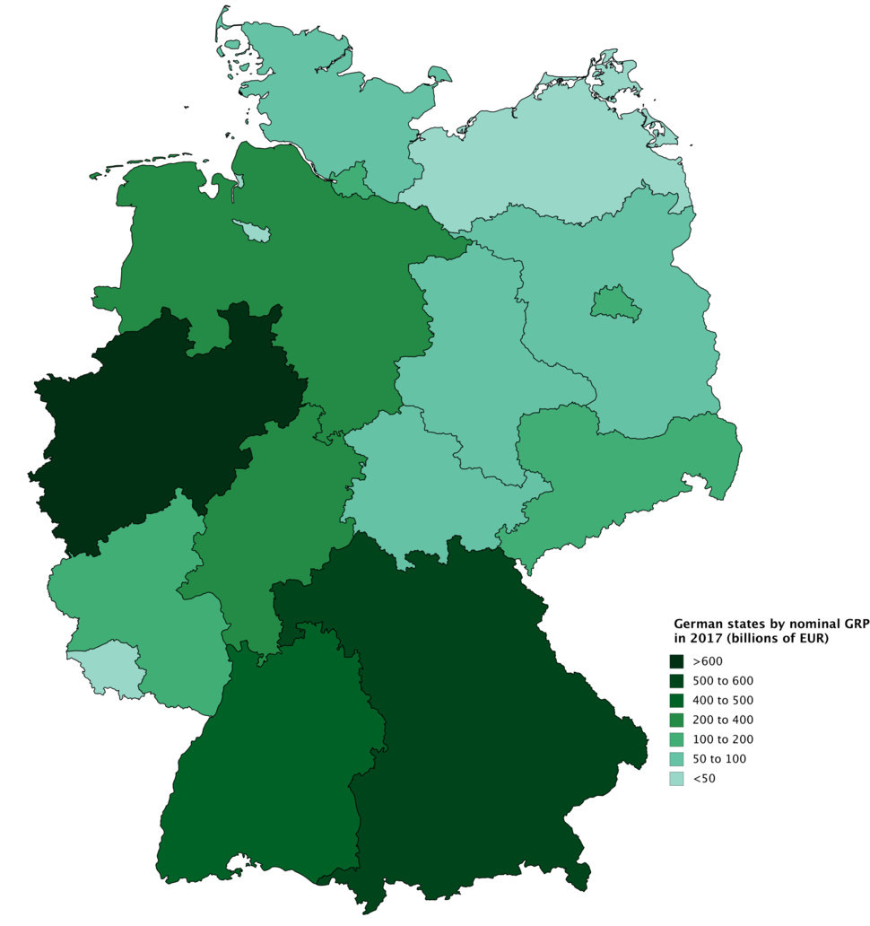 German states by nominal GRP in 2017