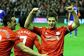 Steven Gerrard - Gerrard celebrates after scoring a hat-trick in the Merseyside derby in 2012