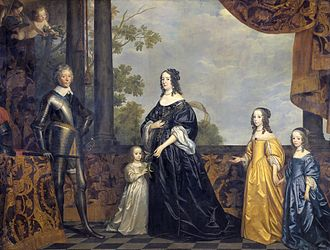 Countess Henriette Catherine of Nassau -  Frederick Henry, Amalia and their youngest three daughters, Henriette is first on the right