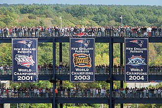 New England Patriots - Super Bowl banners at Gillette Stadium prior to the Patriots winning Super Bowl XLIX