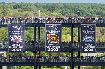 Patriots World Champions banners at Gillette S...