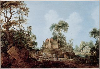 Wooded landscape with shepherds and their livestock on a road near a cottage