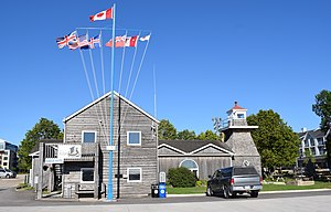 Gimli, Manitoba - The Gimli Harbour Master's building and lighthouse, constructed in 1910, rebuilt 1974.