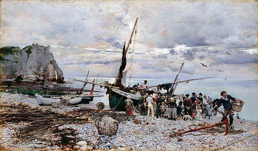 Giovanni Boldini - Le retour des bateaux de pêche, Étretat