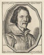 Gravure représentant un homme, portant barbichette et moustache, vêtu d'un rabat