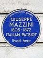 Giuseppe Mazzini 1805-1872 Italian patriot lived here.jpg