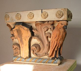 Glazed architectural terra-cotta - Polychrome glazed capital, circa 1915. Randalls Lost NYC collection