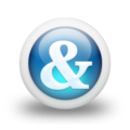 Glossy 3d blue ampersand.png