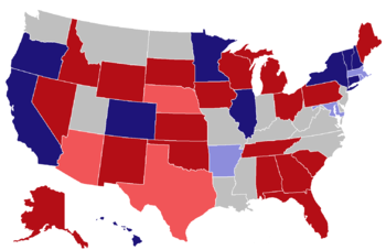 English: Color coded map for the 2014 U.S. gub...