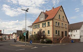 Gründau - Gründau, view to a street: Bachgasse-Hain Gründauer Strasse