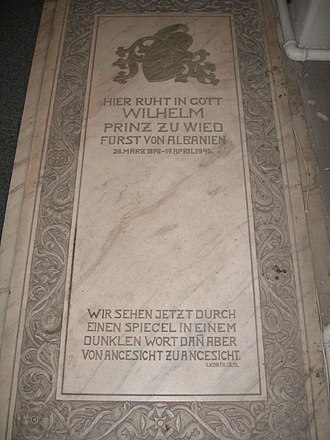 William, Prince of Albania - His tombstone in the Lutheran church in Bucharest