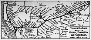 Santa Fe Trail - Connections along the Santa Fe Railroad—Map shows the principal regular stops on the AT&SF mainline, including such famous cattle drive destinations as Dodge City. It is no accident that most of those Kansas, Colorado, and New Mexican towns were also first serviced by the Santa Fe Trail.