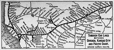 Overland Limited ATSF Train Wikipedia - Atchinson topeka and santa ferailroad on the us map