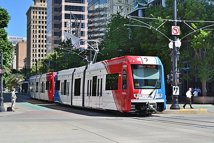 Utah Transit Authority's TRAX was once one of the fastest-growing light rail systems in the United States. Green line Trax at Gallivan Plaza.jpg