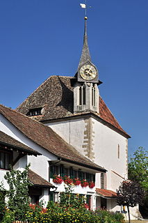 protestant church building in Greifensee (Switzerland)