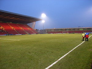 Gresty Road - View from the north eastern corner of the ground after Crewe Alexandra's defeat by Reading, 4 February 2006 (photo by Andrew Smith)