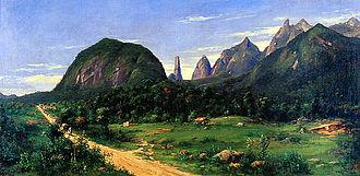 Serra dos Órgãos National Park - Serra dos Órgãos seen from Teresópolis, 1885. Oil on canvas by Georg Grimm