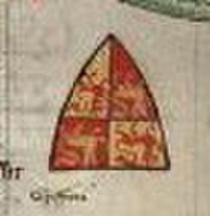 Gruffydd ap Llywelyn Fawr - Coat of arms attributed to Gruffydd as it appears in Cambridge, Corpus Christi College, Parker Library MS 16 II (Chronica Majora).