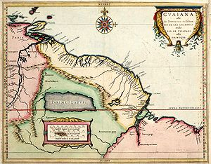 The Guianas - Parime Lacus on a map by Hessel Gerritsz (1625). Situated at the west coast of the lake, the so-called city Manoa or El Dorado