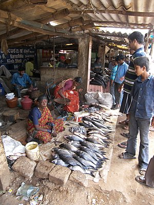 Fish market - A fish stall in HAL market, Bangalore