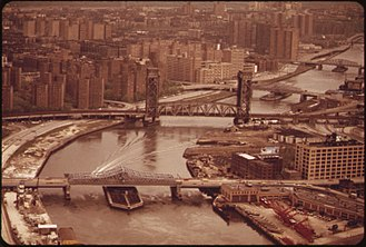 East Harlem - Bridges spanning the Harlem River between Harlem to the left and the Bronx to the right