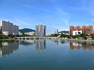 Shing Mun River river channel that runs through Sha Tin District, Hong Kong