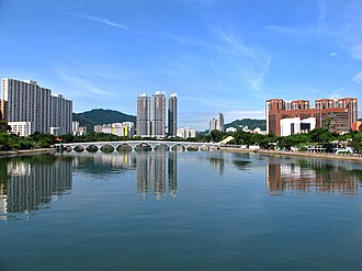 Shing Mun River - Lek Yuen Bridge and housing estates along the river