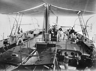 BL 6 inch 80 pounder gun - Quarterdeck of ''Protector'' with aft 6-inch gun trained to port, circa. 1903