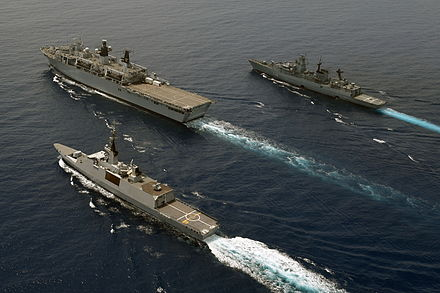 Escorted by the French frigate Courbet and German frigate Schleswig-Holstein during IMCMEX14 in the Persian Gulf