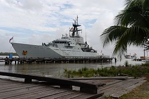 River-class patrol vessel - Mersey visits Guyana during her Caribbean deployment in 2016