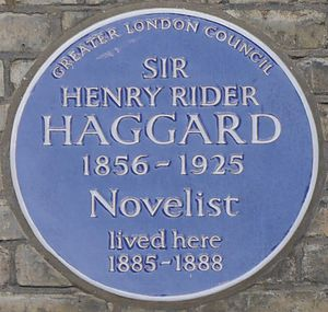 H. Rider Haggard - Blue plaque, 69 Gunterstone Road, London