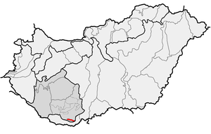 Villány Mountains - Villány Mountains (in red) within physical subdivisions of Hungary