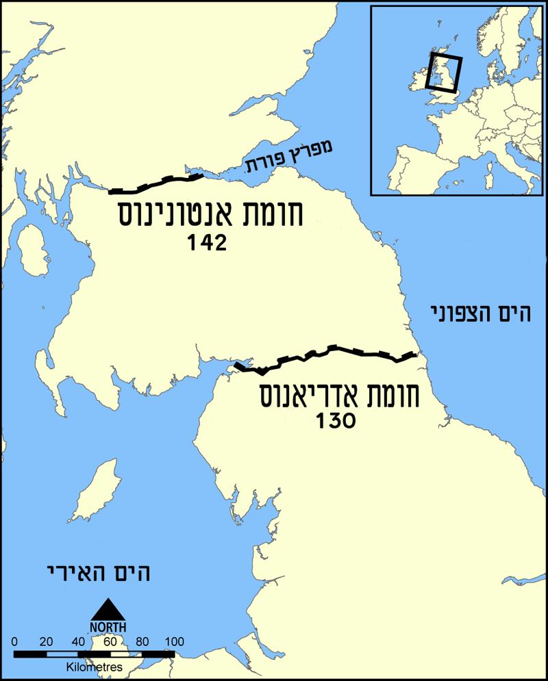 Hadrians Wall map heb