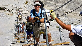 Half Dome - Hikers use cables to ascend Half Dome