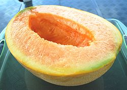 Half cut of Yubari melon.JPG