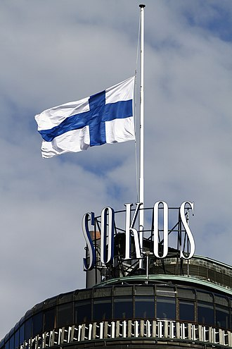 National day of mourning - Finnish flag at half-staff due to the 2011 Norway attacks on July 22, 2011.