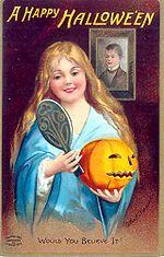 Um cartão comemorativo do Halloween.