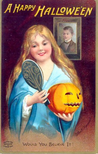 Scrying - This Halloween greeting card from 1904 satirizes divination: the young woman hoping to see her future husband sees the reflection of a nearby portrait instead.