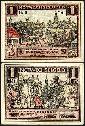 """1 Mark """"Notgeld"""" banknote (emergency money) of Hamburg, 1921"""