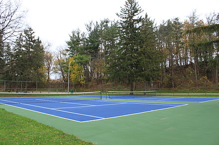 Tennis hardcourt, Curtiss Park, Saline, Michigan