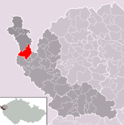 Location of Hazlov municipality within Cheb District and administrative area of Aš as a Municipality with Extended Competence.
