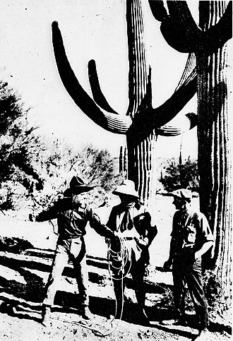 Headin' South - Douglas Fairbanks discussing a scene on location near the Mexican border with the directors.