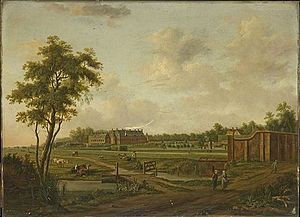 Dieren - View of the Hof te Dieren, by Hendrik Frans de Cort, 18th century
