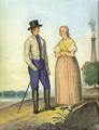 Henryk Jastrzembski akwarela Włościanie z okolic Karwiny.Frysztatu 1847.png
