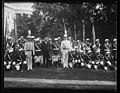 Herbert Hoover with marching band outside White House, Washington, D.C. LCCN2016889706.jpg