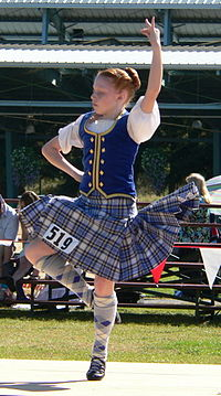 Highland dancer. Note that the action of the kilt is dependent on the way the kilt is constructed.